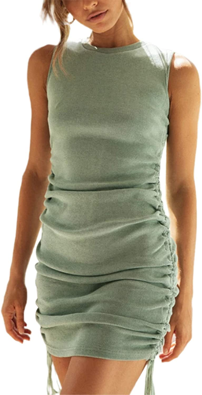 Seyurigaoka Oklahoma City Mall 5 ☆ popular Women's Casual Drawstring Tank Bodycon Side M Ruched