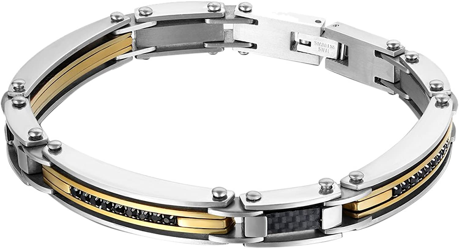 Oidea Mens Stainless Steel Punk Bicycle Chain Bracelet for Biker8.7 Inch Silver and gold Two Tone