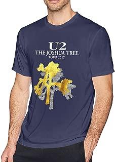 Men U2 Joshua Tree Art Print Suitable Short Sleeve Tee Navy