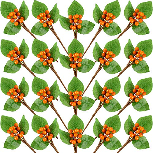 Set of 20 Christmas Artificial Holly Berries Twig Stem Artificial Flowers Winter Berries Bunch Fake Berries Bunch for Christmas Tree Decorations and DIY Craft (Orange, Style B)