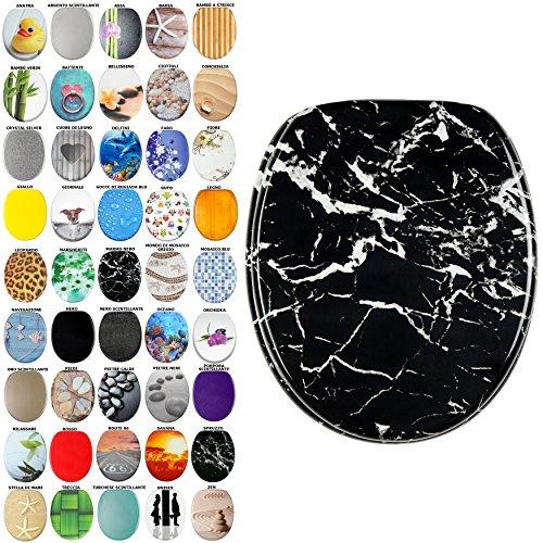 Sedile WC, grande scelta di belli sedili WC da legno robusto e di alta qualità (Marmo nero)
