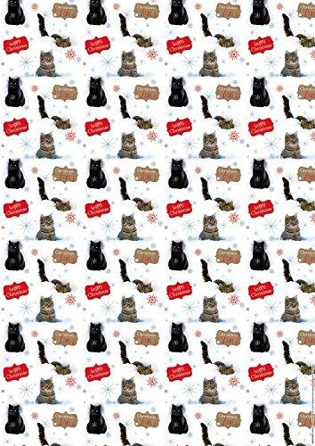 Geschenkpapier Weihnachten mit Anhänger Feline Fun – Katzen 2+2