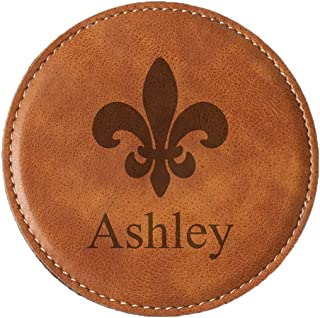 Faux Leather Coaster Set, 4 Pieces, Tan, Customized, Custom Logo, Only One Line Included