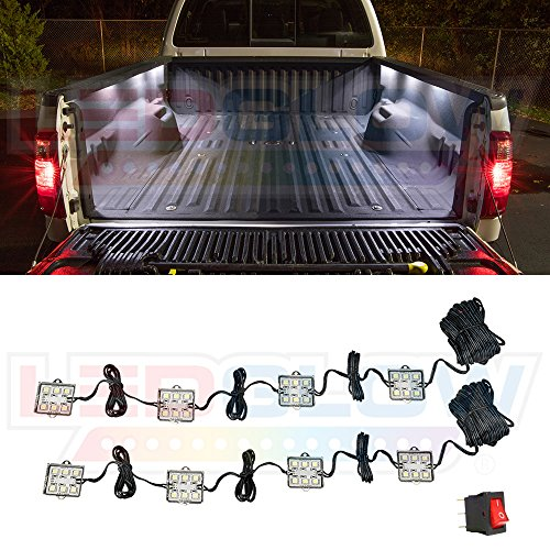 LEDGlow 8pc White Truck Bed Cargo LED Lighting Kit - Universal - Durable,...