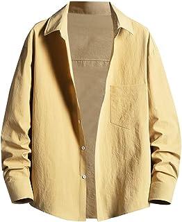 Xmiral Män vardaglig vår sommar tunna skjortor enfärgad rygg tryck långärmad strandblus
