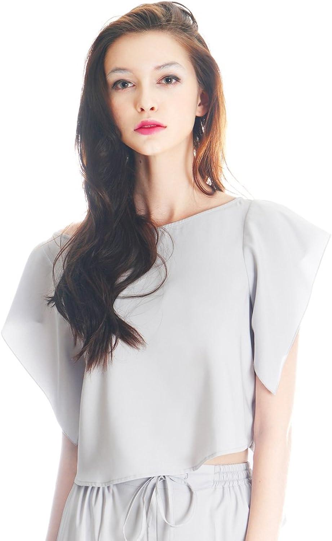 Fairylotus Lolita Silk Shirt Crop Top Women Pajamas Sleepwear Vest Top Grey bluee