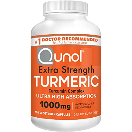Turmeric Curcumin Capsules, Qunol with Ultra High Absorption 1000mg, Joint Support, Dietary Supplement, Extra Strength, 120 Vegetarian Capsules