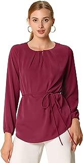 Allegra K Women's Basic Pleated Round Neck Tunic Top Belted Waist Work Long Bishop Sleeve Blouse