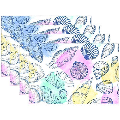 Sunnee-shop Zomer Seashell Beach placemats, 6-delige set, palm Starfish Anchor placemats
