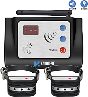 Karotezh Electric Dog Fence Wireless pet Containment System, 100% Safe & Easy to Install Pet Fence, Beep/Shock Dog Fence, Adjustable Control Range, for 2 Dogs Rechargeable & Waterproof Collars
