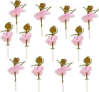 Toyandona Lot de 12 décorations de cupcakes en forme de ballerine Doré à paillettes