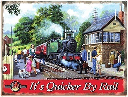 A Country Stop, It's Plus Rapide par Rail. Vapeur Train-Parent - 9 x 6.5 cm (Magnet)