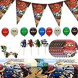 Herber Accesorios para fiestas, juego de decoración para fiestas de Lego Ninjago, temática de fiesta de cumpleaños, cupcakes, banderas, globos, vajilla, máscaras, paquete para niñas y niños