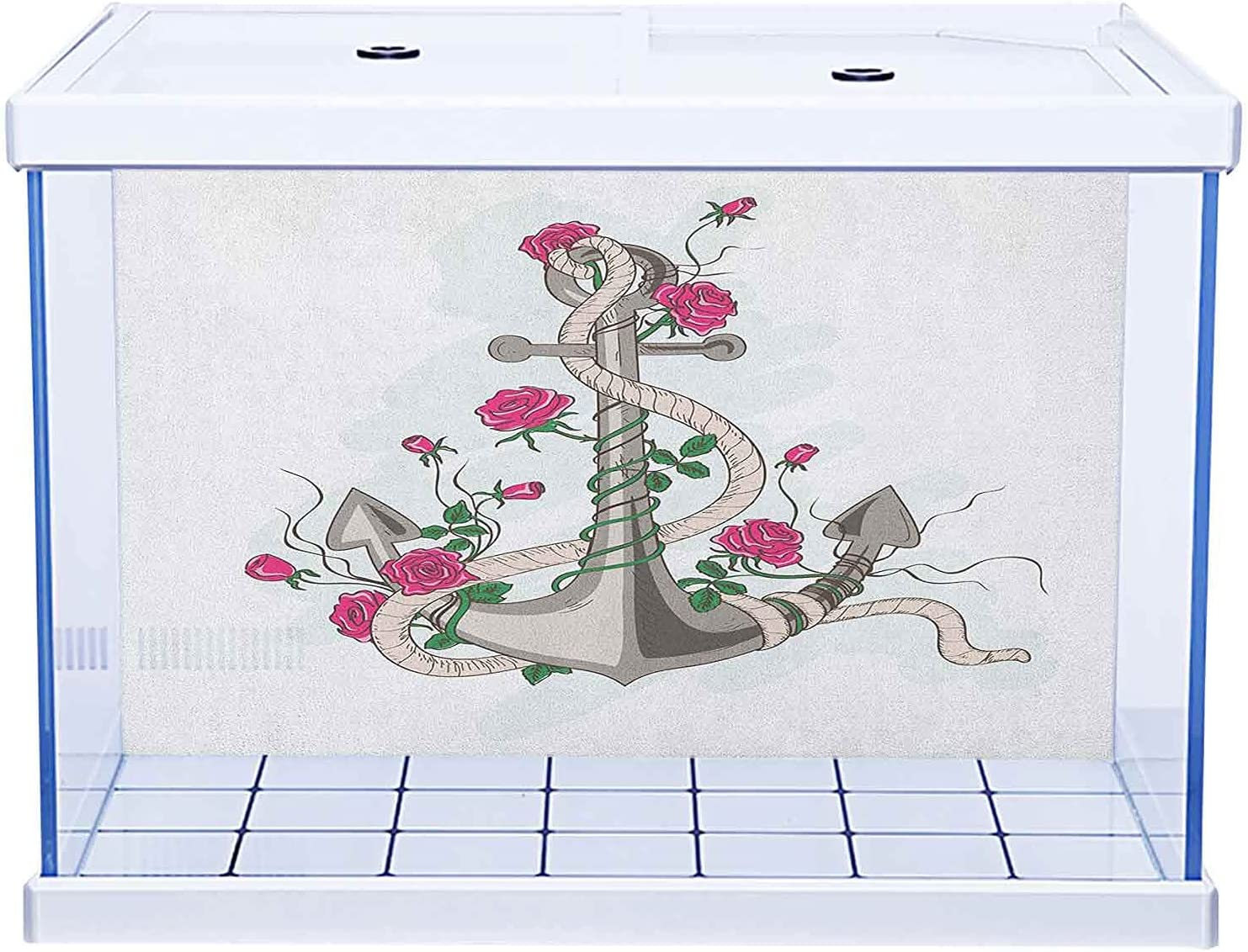 Aquarium Background Sticker Pattern Rose Easy-to-use with Grunge In stock Composition