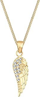 Elli Women Necklace Wing Pendant Elegant with Swarovski® Crystals in 925 Sterling Silver Gold Plated