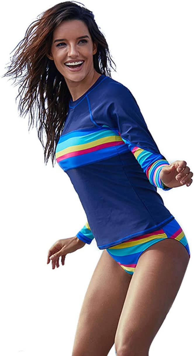 UR MAX BEAUTY Women's Long Sleeve UV Rash Guard Swimsuits Two Piece Swim Shirt Surfing Athletic Swimwear,L