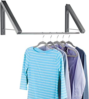 mDesign Expandable Metal Wall Mount Clothes Air Drying Rack - for Indoor Air Drying and Hanging Clothing, Towels, Lingerie, Hosiery, Delicates - Great for Laundry Room or Utility Area - Dark Gray