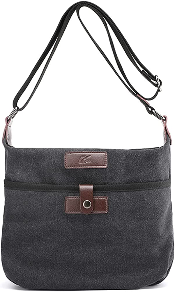 ROUROU Shoulder Bag for Women Cotton Canvas Crossbody Bag Retro Casual Satchel Hobo Tote Bag Commuter Purse