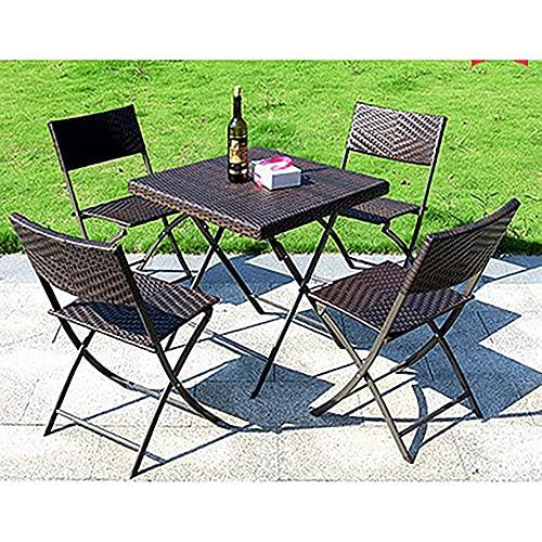 SUN RNPP Juegos de bistró para Patio, 5 Piezas, Mesa y sillas de Patio Plegables de Metal y ratán, Juego de Muebles de jardín para balcón Plegable Resistente a la Intemperie al Aire Libre