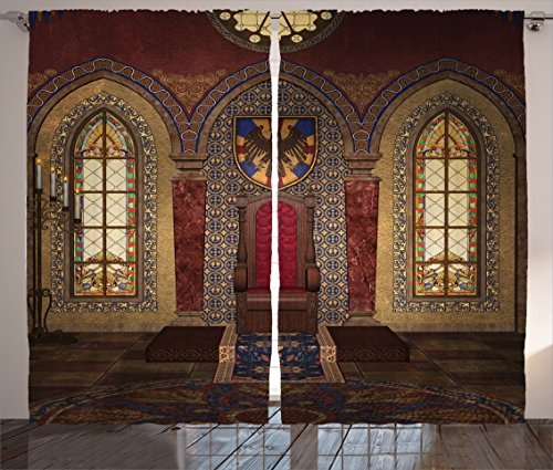 """Ambesonne Gothic Curtains, Red Medieval in Chapel Eagle Portrait on Wall Fantasy Building Print, Living Room Bedroom Window Drapes 2 Panel Set, 108"""" X 84"""", Brown Ruby"""