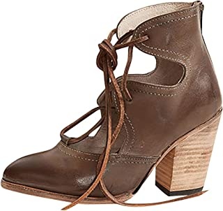 Wedge Sandals for Women,ONLYTOP Women's Cut Out Ankle Boots Mary Jane Shoes lace up Block High Heel Dress Pumps
