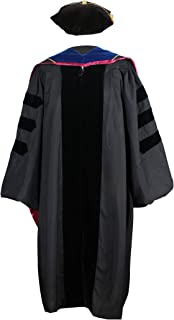 GraduationService Unisex Deluxe Regalia Doctoral Graduation Gown,Hood and 8-Side Tam Package PHD Velvet