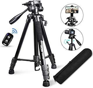 "Torjim 60"" Camera Tripod with Carry Bag, Lightweight Travel Aluminum Professional Tripod Stand (5kg/11lb Load) with Blueto..."