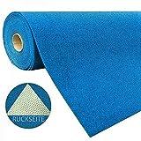 havatex Rasenteppich Kunstrasen mit Noppen 1.550 g/m² - Rot Blau Grau Braun Beige oder Anthrazit | Meterware | wasserdurchlässig | Balkon Terrasse Camping, Farbe:Blau, Größe:400 x 200 cm