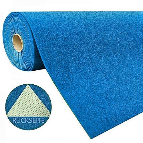 havatex Rasenteppich Kunstrasen mit Noppen 1.550 g/m² - Rot Blau Grau Braun Beige oder Anthrazit | Meterware | wasserdurchlässig | Balkon Terrasse Camping, Farbe:Blau, Größe:400 x 150 cm