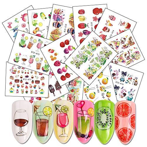 XXCKA Mix Fruits Wasser Abziehbilder Nail Sticker Set Kuchen/Saft/EIS Wasserzeichen Slider Nail Wraps Zubehör 18 Blatt