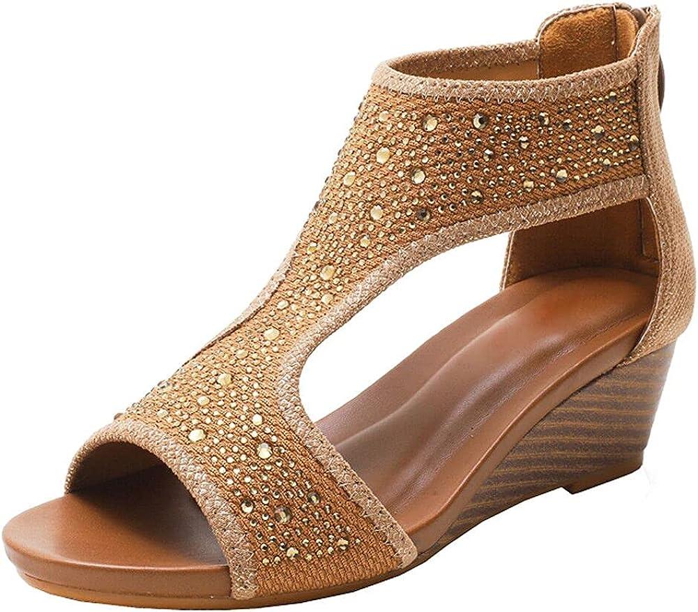 WOJWSKI Women's Slide Milwaukee Mall Wedge Sandal Open High Zipper Heel Toe Bac Sales for sale