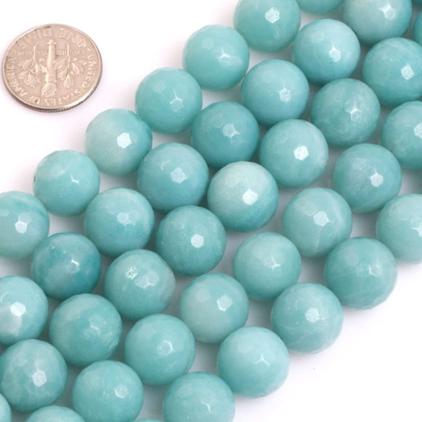 GEM-inside Natural Faceted 12mm Blue Amazonite Gemstone Loose Beads Handmade Round Energy Stone Beads for Jewelry Making Jewelry Beading Supplies for Women