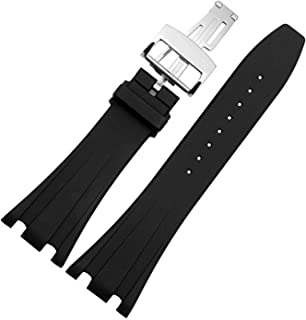 Choco&Man US Audemars Piguet Watch Band Replacement Watch Strap Quick Release Deployment Butterfly Buckle with Tool 26mm/28mm Silicone Black