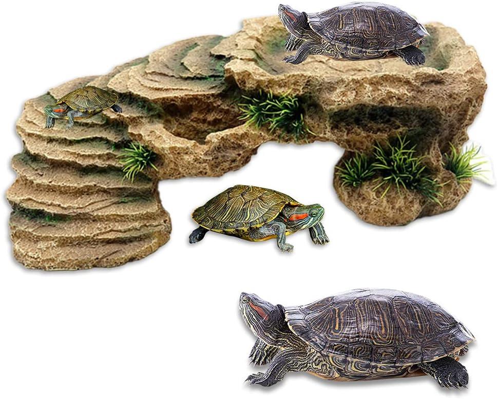 GerTong - Piattaforma di tartaruga regolabile in resina simulazione paesaggio pietra tartaruga basking piattaforma rettangolare acquario acquario Fish Tank accessori per rettili