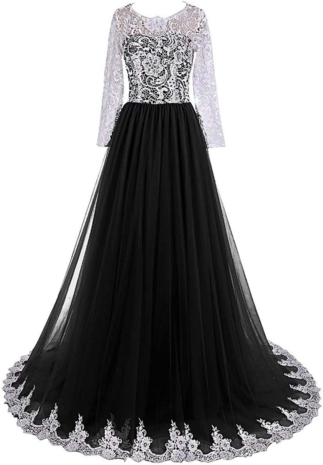 Ruiyuhong Women's Long Sleeve Lace Prom Dresses Formal Evening Gowns