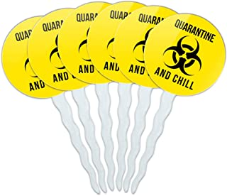 GRAPHICS & MORE Biohazard Quarantine and Chill Cupcake Picks Toppers Decoration Set of 6