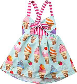Toddler Kids Baby Girl Halter Sleeveless Bodysuit Ice Cream Print Flared Dress Summer Clothes Outfit Sets