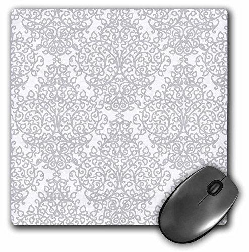 3dRose LLC 8 x 8 x 0.25 Inches Grey and White Damask Silver Swirling Victorian Stylish Traditional Pattern Mouse Pad (mp_151431_1)