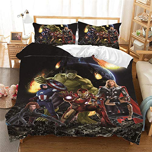 Fadaseo King Duvet Cover Sets 240 X 220 Cm 3D Printing Movie Characters 3 Pieces Bedding Set. Easy Care And Super Soft Cotton Design.With 2 Pillowcases Hypoallergenic