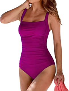 Women's Vintage Padded Push up One Piece Swimsuits Tummy...