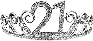 Bodhi2000 18/20/21/30/40/50/70 Number Design Tiara Crystal Strass Compleanno Corona Fascia Per Capelli Fascia Per Capelli ...