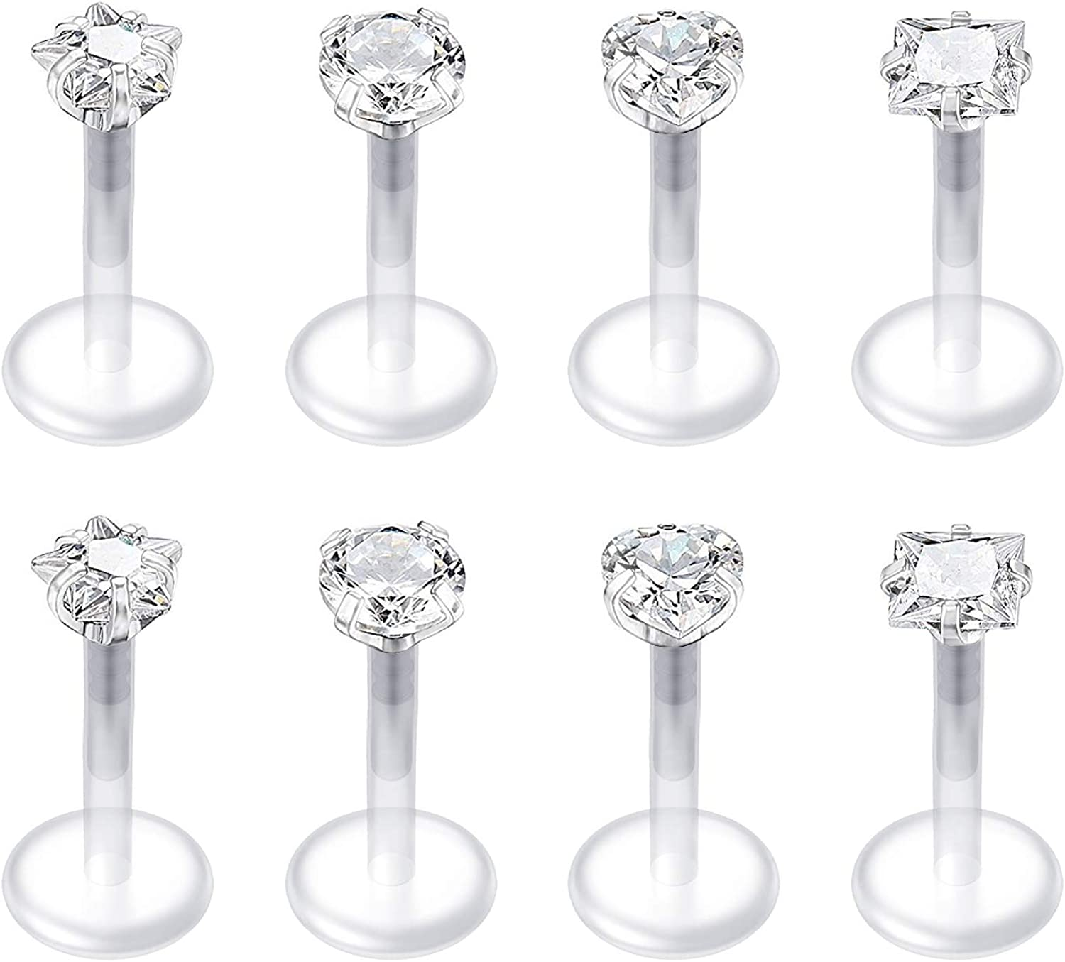 QWALIT 16G Clear Lip Rings Studs Cartilage Tragus Earrings Retainer for Work Plastic Cubic Zirconia Labret Monroe Piercing Jewelry 6mm 8mm