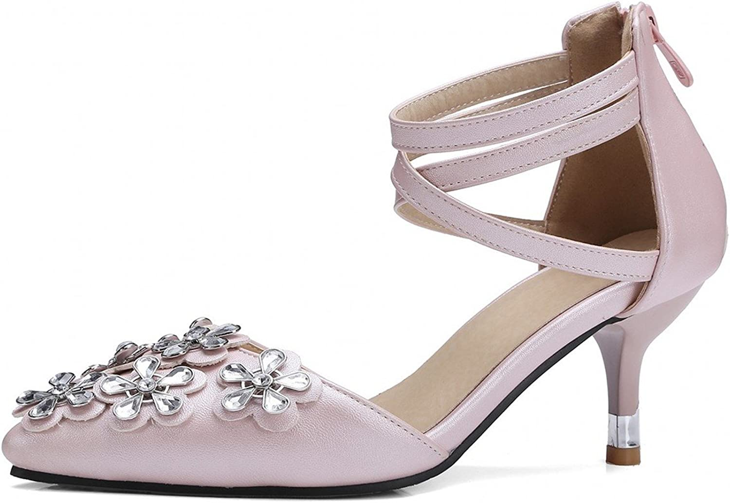 Rongzhi Womens Flower Pointed Toe Ankle Strap Buckle High Heels Party Dress Pumps Stiletto Heeled shoes