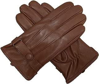 Men Genuine Leather Gloves Men Style Gloves Men Winter Leather Gloves for Man (Color : Curry, Gloves Size : M)