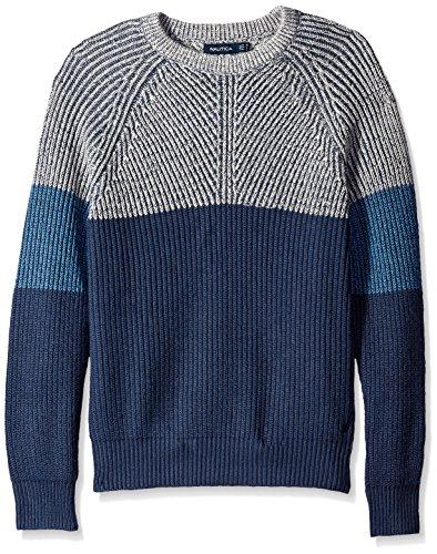 Nautica Mens Color-blocked Pullover Sweaters