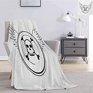Luoiaax Skull Plush Throw Blanket for Couch Grungy Old Icon Stamp Design Skull Figure in Circle with Angel Wings Monochrome Soft Fuzzy Blanket for Couch Bed W54 x L72 Inch Black and White