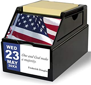 My Great America Inspirational Daily Tabletop Desk Calendar Gift with Reusable Organizer Case (Black Gloss)