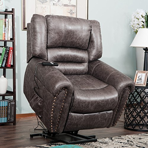 Harper&Bright Designs Smoky Brown Wilshire Series Heavy-Duty Power Lift Recliner Chair, Built-in Remote and 2 Castors,