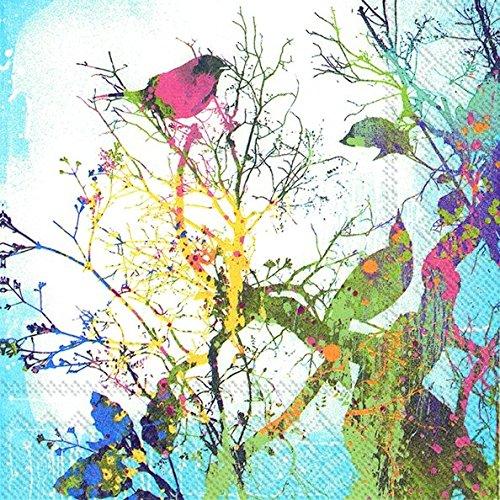 VOLATIELE COLORÉ Vogels Silhouette IHR Papier Lunch Servetten 20 in verpakking 3 lagen 33 cm vierkant