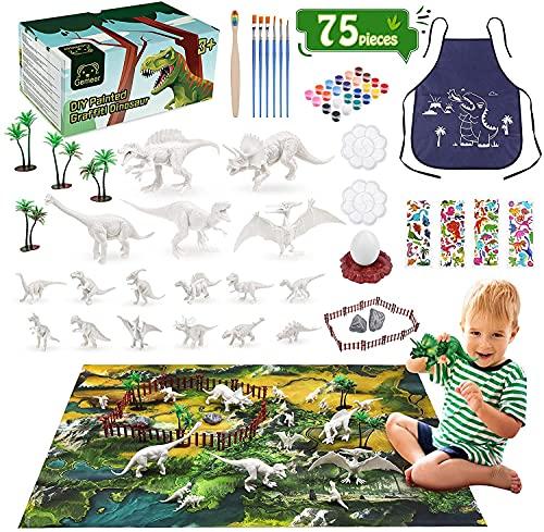 Gemeer 75 Piezas Dinosaurios Juguetes, Kit de Pintura de Dinosaurios para niños Pintar Dinosaurios, Manualidades, Figuras de Dinosaurios Juguetes para 4 5 6 7 8 9 Niños